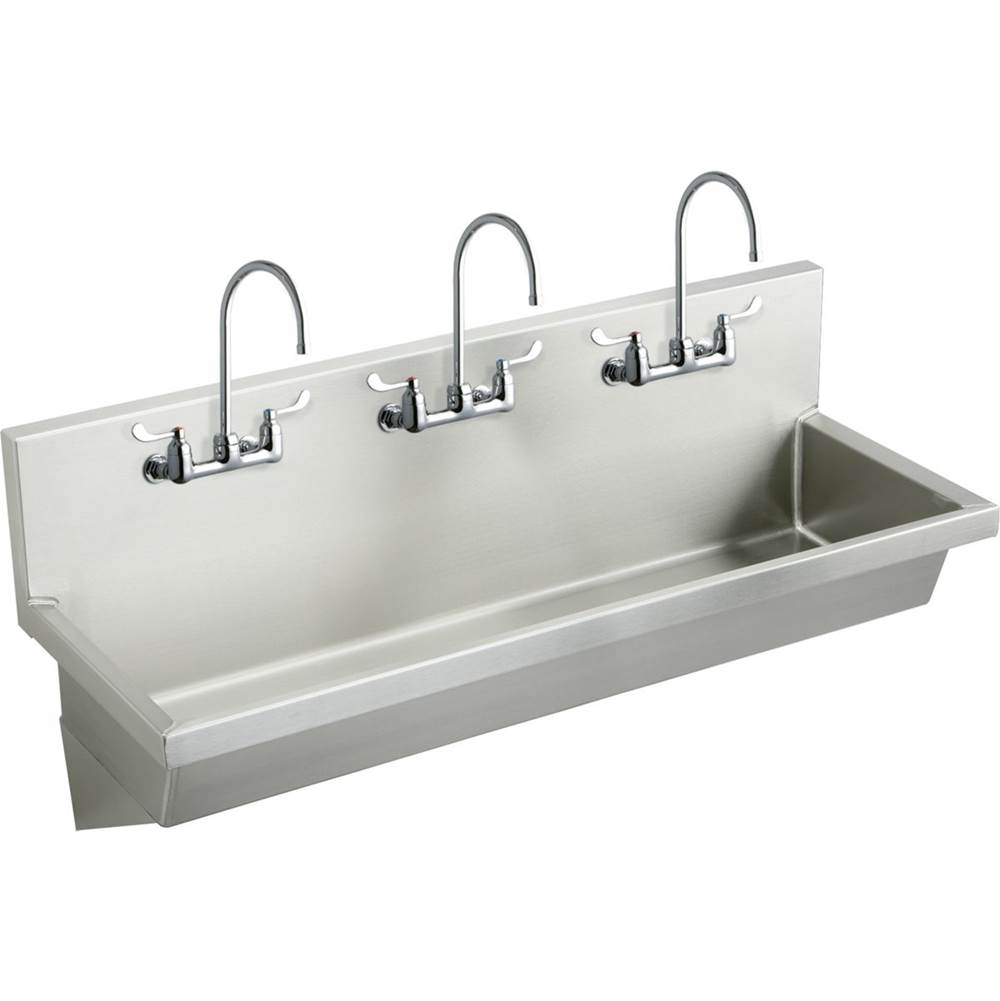 Elkay EWMA7220C 72 L x 20 W x 8 D Wall Hung Multiple Station Hand Wash Sink Kit with Faucet