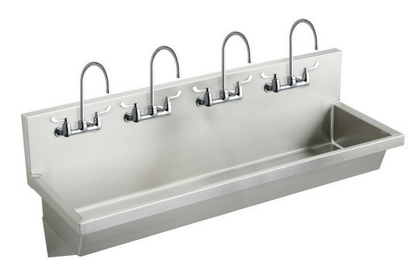 Elkay EWMA9620C 96 L x 20 W x 8 D Wall Hung Multiple Station Hand Wash Sink with Faucet