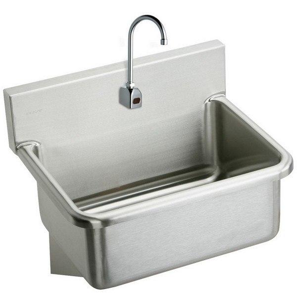Elkay EWS2520SACMC 25 L x 19-1/2 W x 10-1/2 D Wall Hung Single Bowl Hand Wash Sink and Sensor Faucet,  Mechanical Mixing Valve
