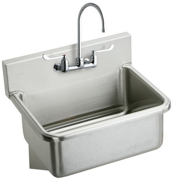 Elkay EWS3120W6C 31 L x 19-1/2 W x 10-1/2 D Wall Hung Single Bowl Hand Wash Sink Kit with Faucet, 2 Faucet Holes
