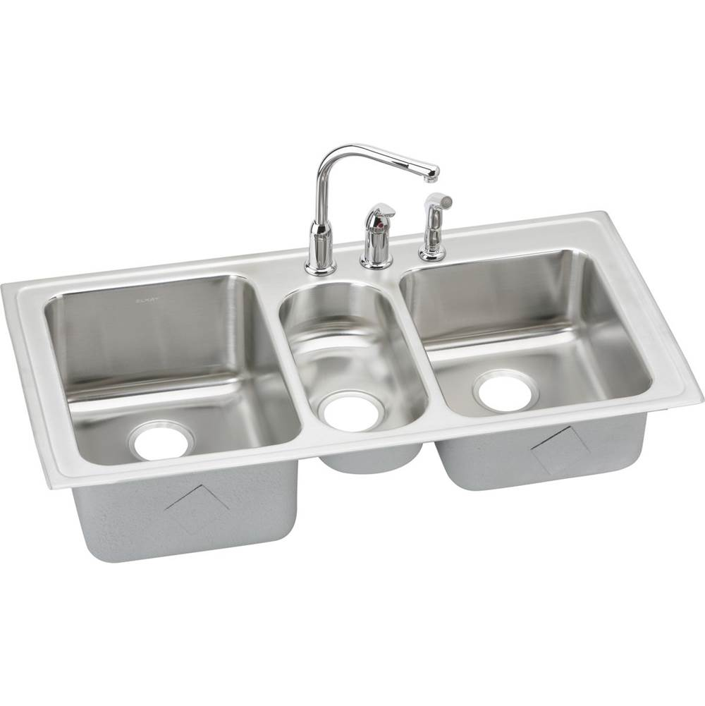 Elkay Lgr4322c Lustertone Stainless Steel 43 L X 22 W X 10 D Triple Bowl Kitchen Sink With Faucet In Chrome