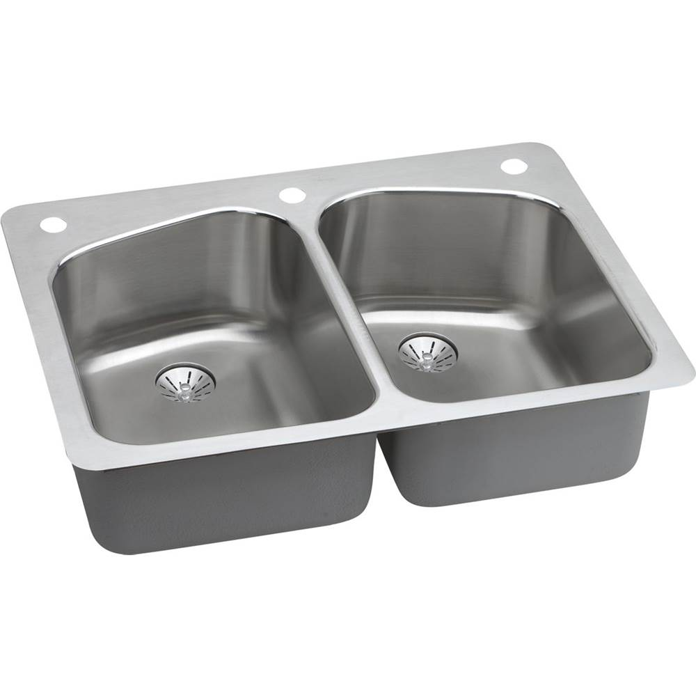 Elkay LKHSR33229PD3 Stainless Steel 33 L x 22 W x 9 D Kitchen Sink with Perfect Drains, 3 Faucet Holes