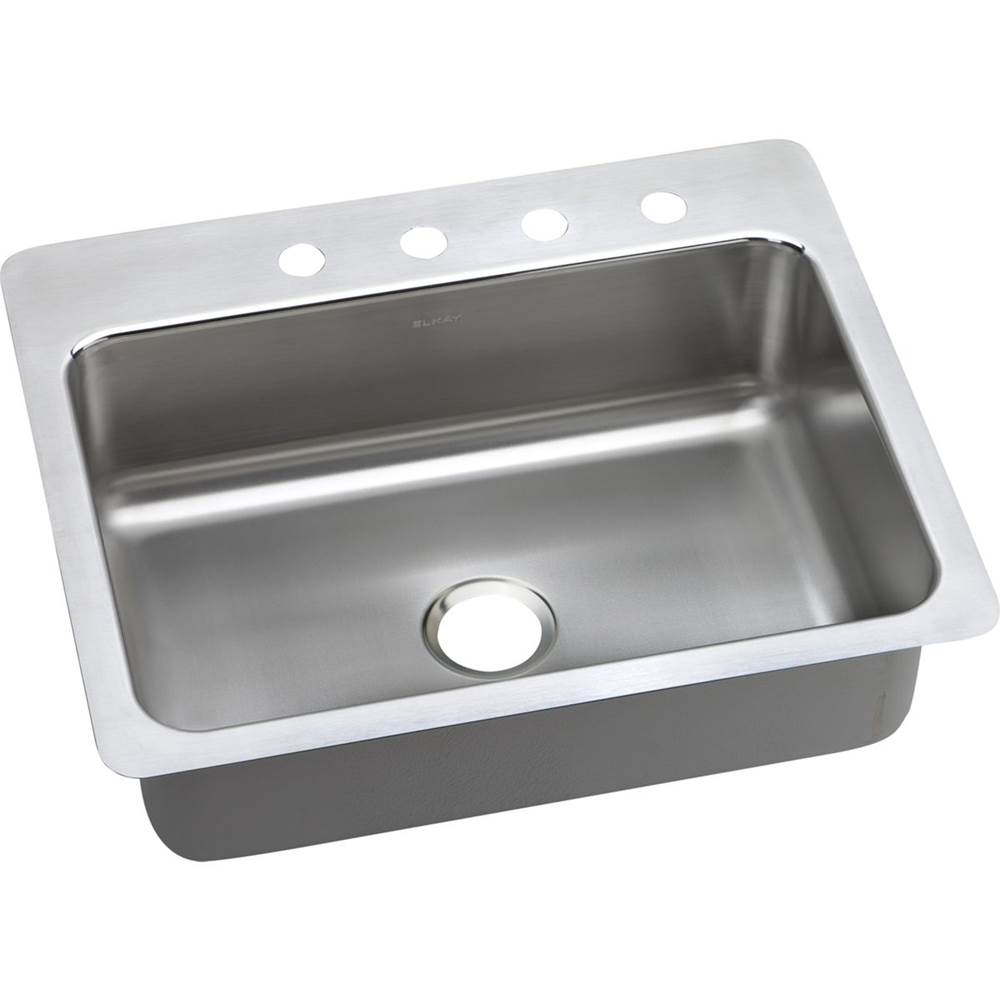 ELKAY PSSR27221 PACEMAKER STAINLESS STEEL 27 L X 22 W X 7-1/2 D UNIVERSAL MOUNT KITCHEN SINK, 1 FAUCET HOLE
