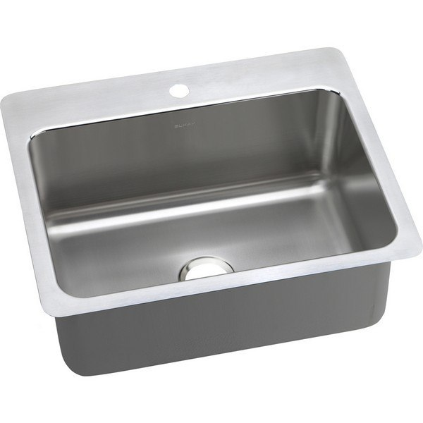 ELKAY DLSR2722101 LUSTERTONE STAINLESS STEEL 27 L X 22 W X 10 D UNIVERSAL MOUNT KITCHEN SINK, 1 FAUCET HOLE