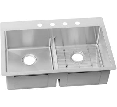 Elkay ECTSRA33229BG1 Crosstown Stainless Steel 33 x 22 x 9 Dual Mount Sink with Bottom Grid, 1 Faucet Hole