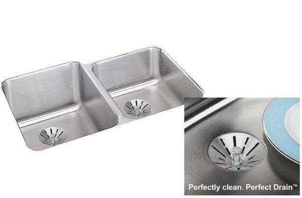Elkay ELUH3120RPDBG 31-1/4 L x 20-1/2 W x 9-7/8 D Undermount Kitchen Sink with Drain and Bottom Grid