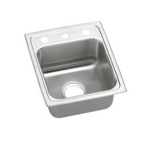 ELKAY LRAD1517501 STAINLESS STEEL 15 L X 17-1/2 W X 5 D TOP MOUNT KITCHEN SINK, 1 FAUCET HOLE