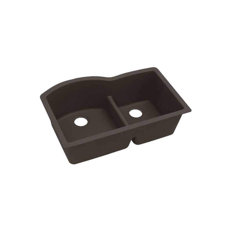 Elkay ELXHU3322RCN0 Quartz Luxe 33 L x 22 W x 10 D Double Bowl Undermount Sink With Aqua Divide in Chestnut