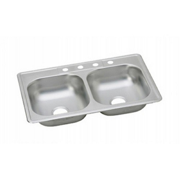 ELKAY K233223 KINGSFORD STAINLESS STEEL 33 L X 22 W X 6 D DOUBLE BOWL  KITCHEN SINK, 3 FAUCET HOLES
