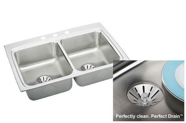 Elkay LR3322PD2 Stainless Steel 33 L x 22 W x 8-1/8 D Double Bowl Kitchen Sink Kit, 2 Faucet Holes