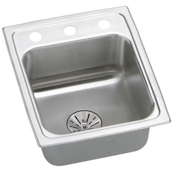 ELKAY LRAD151765PD1 STAINLESS STEEL 15 L X 17-1/2 W X 6-1/2 D TOP MOUNT KITCHEN SINK KIT, 1 FAUCET HOLE