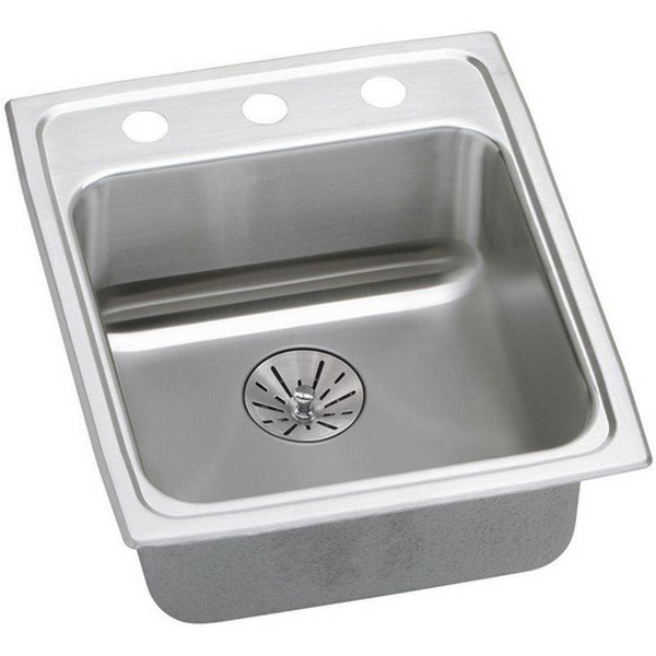 ELKAY LRAD152265PD3 STAINLESS STEEL 15 L X 22 W X 6-1/2 D TOP MOUNT KITCHEN SINK KIT, 3 FAUCET HOLES