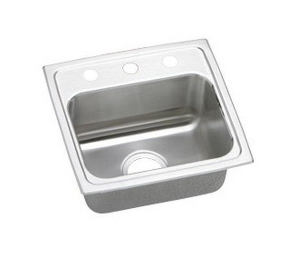 ELKAY LRAD1716502 STAINLESS STEEL 17 L X 16 W X 5 D TOP MOUNT KITCHEN SINK, 2 FAUCET HOLES