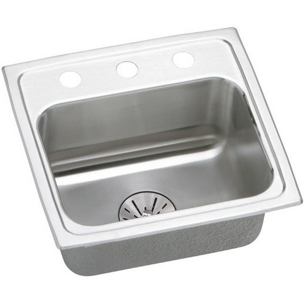 ELKAY LRAD171665PDOS4 STAINLESS STEEL 17 L X 16 W X 6-1/2 D TOP MOUNT KITCHEN SINK KIT, 4 FAUCET HOLES
