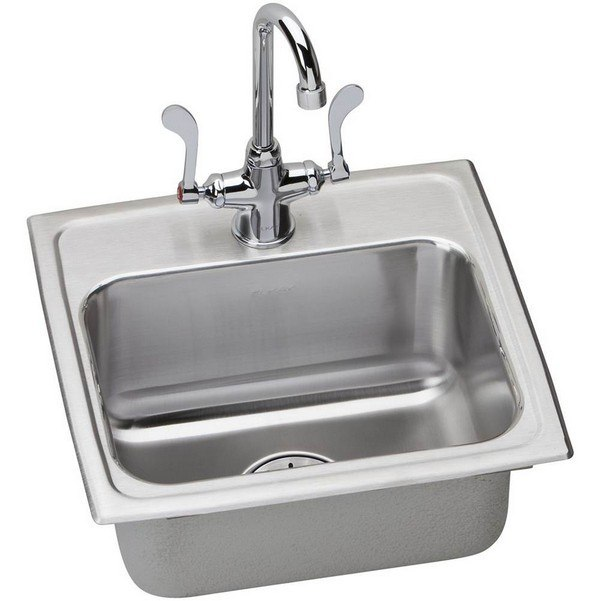 ELKAY LRAD171665PDSC STAINLESS STEEL 17 L X 16 W X 6-1/2 D TOP MOUNT KITCHEN SINK WITH FAUCET, 1 FAUCET HOLE