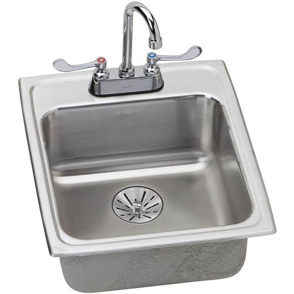 ELKAY LRAD172065PDC STAINLESS STEEL 17 L X 20 W X 6-1/2 D KITCHEN SINK WITH FAUCET, 2 FAUCET HOLES