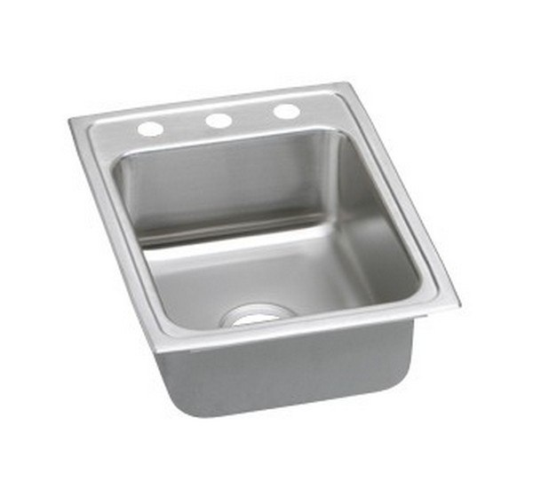 ELKAY LRAD1722502 STAINLESS STEEL 17 L X 22 W X 5 D TOP MOUNT KITCHEN SINK, 2 FAUCET HOLES