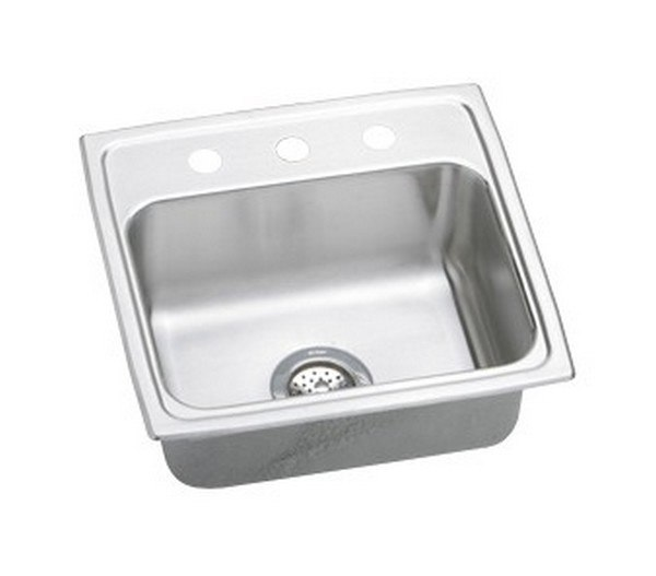 ELKAY LRAD1919403 STAINLESS STEEL 19-1/2 L X 19 W X 4 D TOP MOUNT KITCHEN SINK, 3 FAUCET HOLES