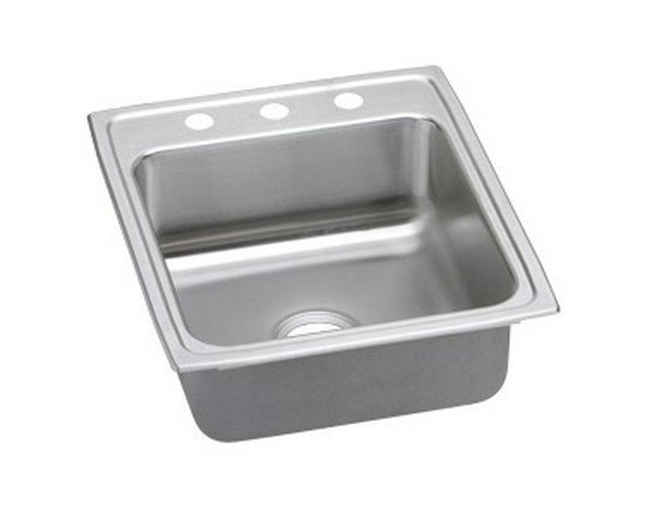 ELKAY LRAD202250OS4 STAINLESS STEEL 19-1/2 L X 22 W X 5 D TOP MOUNT KITCHEN SINK, 4 FAUCET HOLES