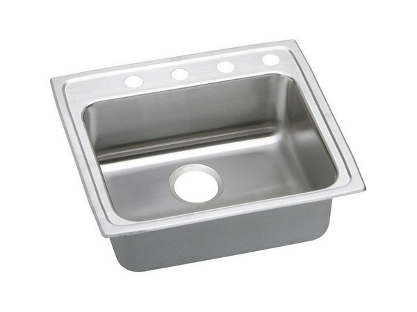 ELKAY LRAD2219405 STAINLESS STEEL 22 L X 19-1/2 W X 4 D TOP MOUNT KITCHEN SINK, 5 FAUCET HOLES