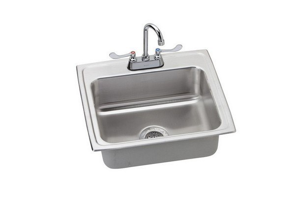 ELKAY LRAD221960SC STAINLESS STEEL 22 L X 19-1/2 W X 6 D KITCHEN SINK WITH FAUCET, 2 FAUCET HOLES