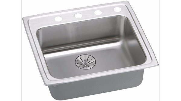 ELKAY LRAD221965PD4 STAINLESS STEEL 22 L X 19-1/2 W X 6-1/2 D KITCHEN SINK WITH PERFECT DRAIN, 4 FAUCET HOLES