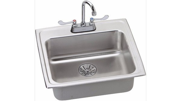 ELKAY LRAD221965PDC STAINLESS STEEL 22 L X 19-1/2 W X 6-1/2 D TOP MOUNT KITCHEN SINK WITH FAUCET, 2 FAUCET HOLES