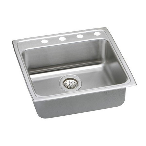 ELKAY LRAD2222452 STAINLESS STEEL 22 L X 22 W X 4-1/2 D TOP MOUNT KITCHEN SINK, 2 FAUCET HOLES