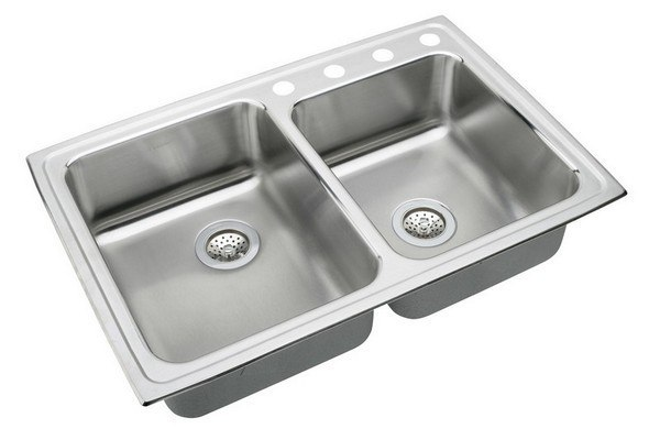 ELKAY LRAD250554 STAINLESS STEEL 33 L X 22 W X 5-1/2 D DOUBLE BOWL KITCHEN SINK, 4 FAUCET HOLES