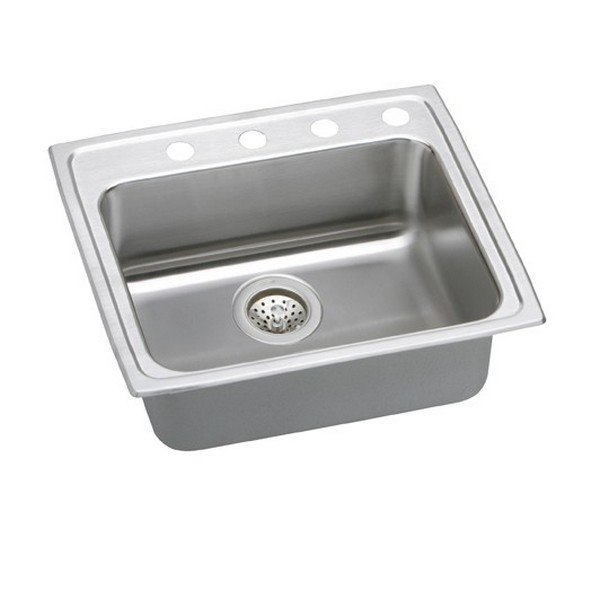 ELKAY LRAD2521404 STAINLESS STEEL 25 L X 21-1/4 W X 4 D TOP MOUNT KITCHEN SINK, 4 FAUCET HOLES