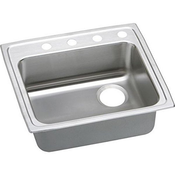 ELKAY LRAD252150R4 STAINLESS STEEL 25 L X 21-1/4 W X 5 D TOP MOUNT KITCHEN SINK, 4 FAUCET HOLES