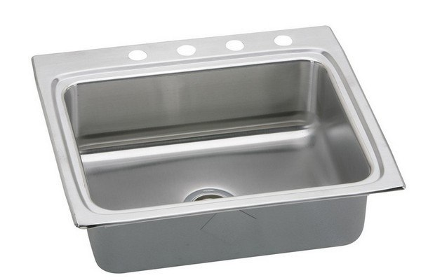 ELKAY LRAD2522454 STAINLESS STEEL 25 L X 22 W X 4-1/2 D TOP MOUNT KITCHEN SINK, 4 FAUCET HOLES