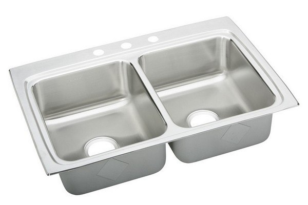 ELKAY LRAD3322603 STAINLESS STEEL 33 L X 22 W X 6 D DOUBLE BOWL KITCHEN SINK, 3 FAUCET HOLES