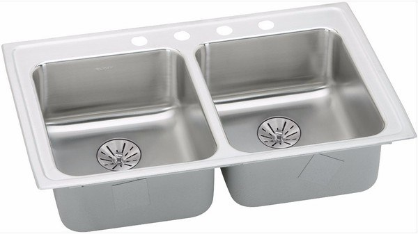ELKAY LRAD331965PD5 STAINLESS STEEL 33 L X 19-1/2 W X 6-1/2 D DOUBLE BOWL KITCHEN SINK WITH PERFECT DRAIN, 5 FAUCET HOLES
