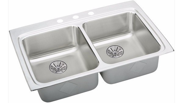 ELKAY LRAD332265PD3 STAINLESS STEEL 33 L X 22 W X 6-1/2 D DOUBLE BOWL KITCHEN SINK WITH PERFECT DRAIN, 3 FAUCET HOLES