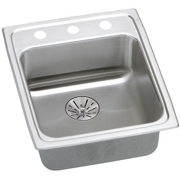 ELKAY LRADQ172065PDOS4 STAINLESS STEEL 17 L X 20 W X 6-1/2 D TOP MOUNT KITCHEN SINK WITH PERFECT DRAIN, 4 FAUCET HOLES
