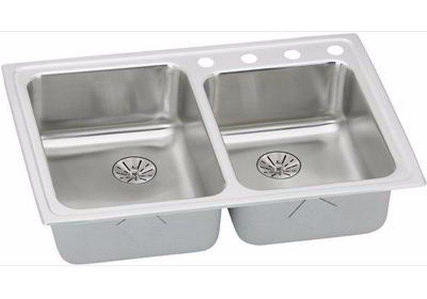 Elkay LRADQ25065PDS2 Stainless Steel 33 L x 22 W x 6-1/2 D Double Bowl Kitchen Sink with Perfect Drain, 2 Faucet Holes