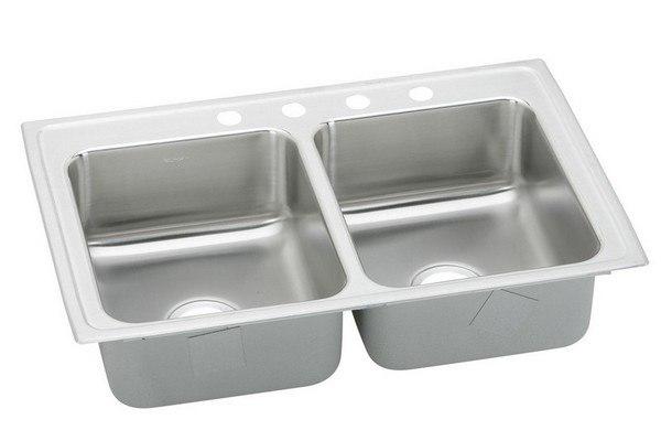 Elkay LRADQ2918603 Stainless Steel 29 L x 18 W x 6 D Double Bowl Kitchen  Sink, 3 Faucet Holes