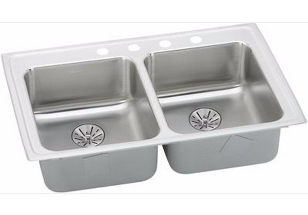 ELKAY LRADQ332165PD1 STAINLESS STEEL 33 L X 21-1/4 W X 6-1/2 D DOUBLE BOWL KITCHEN SINK WITH PERFECT DRAIN, 1 FAUCET HOLE