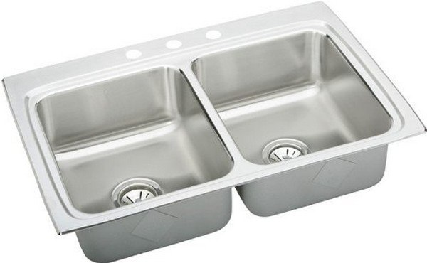 ELKAY MLR3322MR2 LUSTERTONE STAINLESS STEEL 33 L X 22 W X 7-7/8 D DOUBLE BOWL KITCHEN SINK, 2 FAUCET HOLES