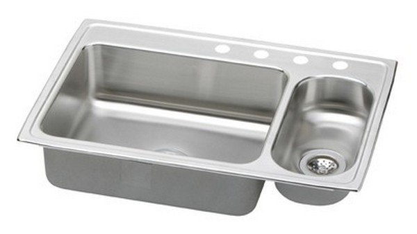 ELKAY PSMR3322R4 PACEMAKER STAINLESS STEEL 33 L X 22 W X 7-1/4 D DOUBLE BOWL KITCHEN SINK, 4 FAUCET HOLES