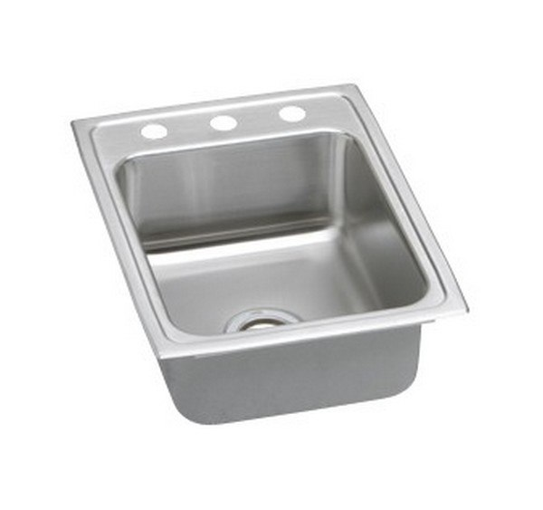 ELKAY PSRQ1722OS4 PACEMAKER STAINLESS STEEL 17 L X 22 W X 7-1/8 D TOP MOUNT KITCHEN SINK, 4 FAUCET HOLES