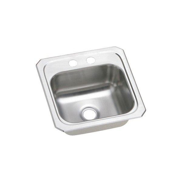 Elkay BCR152 Celebrity 15 L x 15 W x 6-1/8 D Top Mount Bar Sink, 2 Faucet Holes