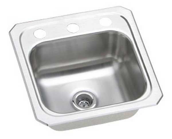 Elkay BCR153 Celebrity 15 L x 15 W x 6-1/8 D Top Mount Bar Sink, 3 Faucet Holes