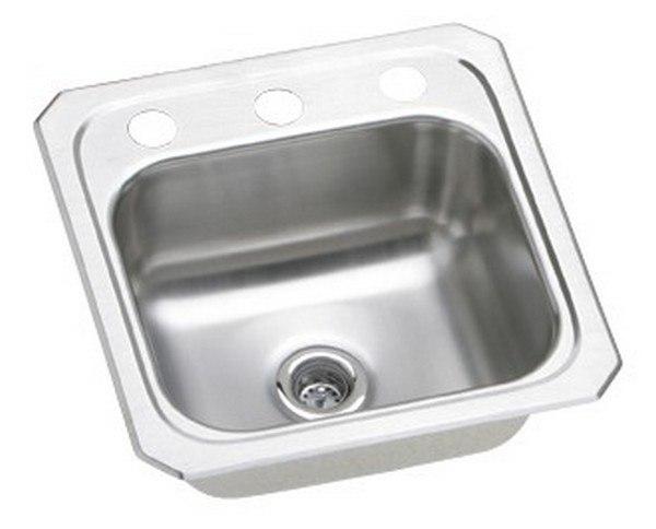 Elkay BCR15MR2 Celebrity 15 L x 15 W x 6-1/8 D Top Mount Bar Sink, 2 Faucet Holes