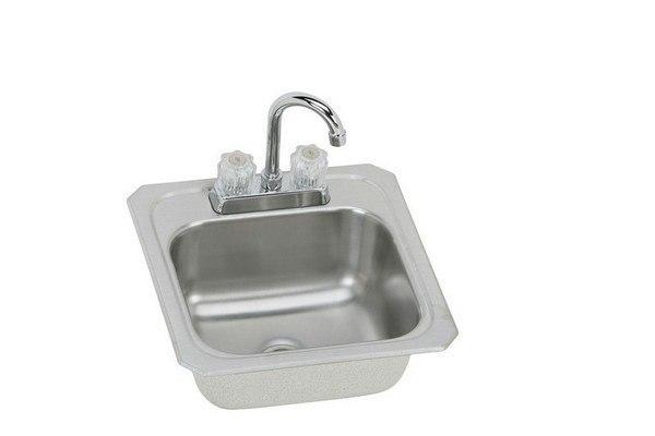 Elkay BCRA150C Celebrity 15 L x 15 W x 6-1/8 D Top Mount Bar Sink with Faucet