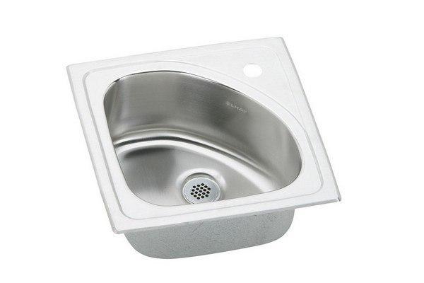 Elkay BLGR15151 Lustertone 15 L x 15 W x 6-1/2 D Top Mount Bar Sink