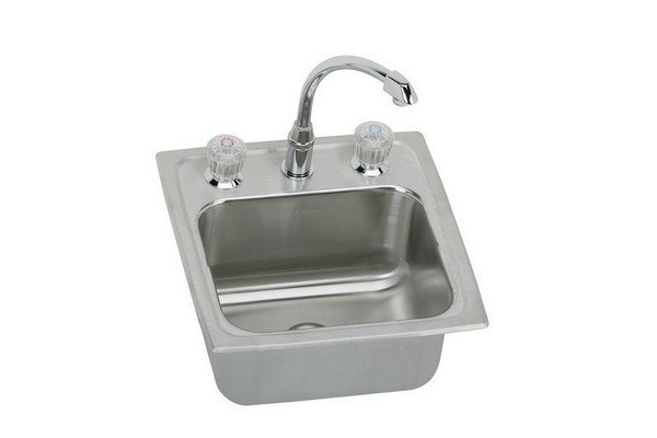 Elkay BLH15C Lustertone 15 L x 15 W x 7-1/8 D Top Mount Bar Sink with Faucet