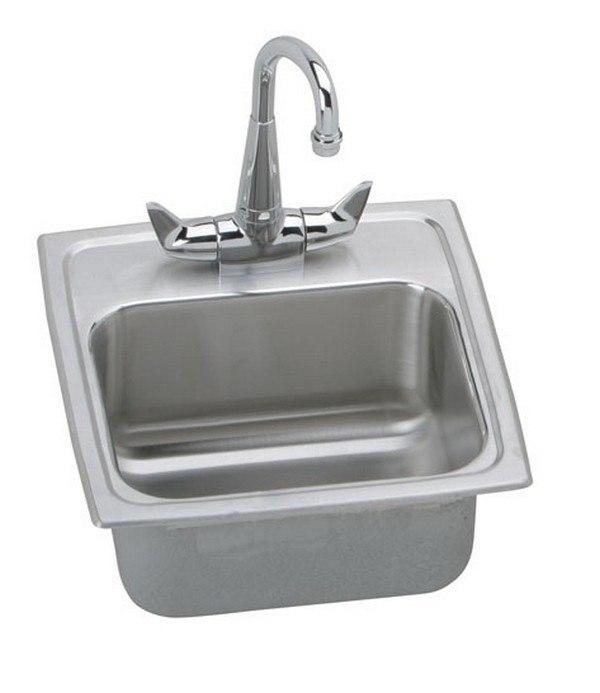 Elkay BLR150C Lustertone 15 L x 15 W x 7-1/8 D Top Mount Bar Sink with Faucet