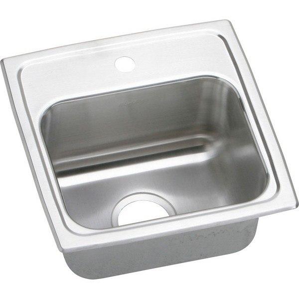 Elkay BLR15161 Lustertone 15 L x 15 W x 7-1/8 D Top Mount Bar Sink, 1 Faucet Hole
